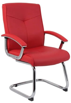 Red Leather Faced Visitor Chair