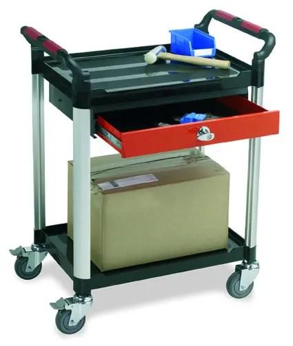 2 Shelf Trolleys with Drawer