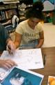Tiera working on a manatee piece!