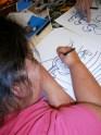 Alyssa working on her rendition of Florida's state bird