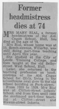 Obituary of Mary Rial, Headteacher c1940's