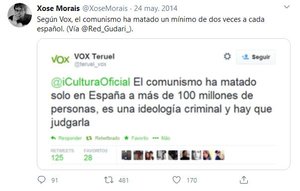 Tuit de Vox sobre comunismo