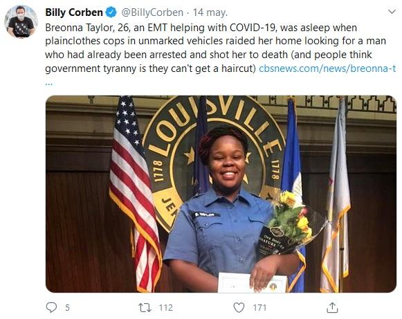 Tuit de Billy Corben hablando del asesinato de Breonna Taylor.