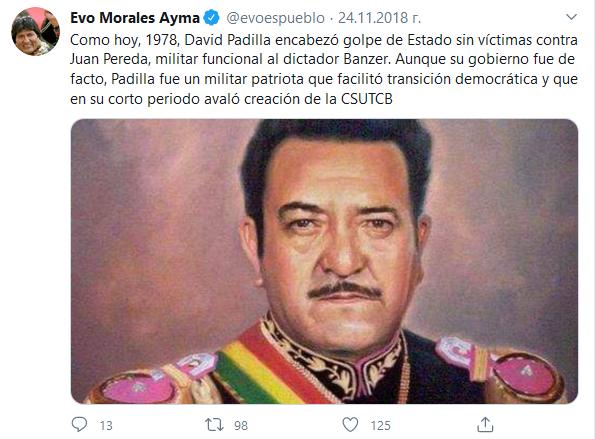 Tuit de Evo Morales el 24-11-2018 sobre David Padilla https://twitter.com/evoespueblo/status/1066276586020835328