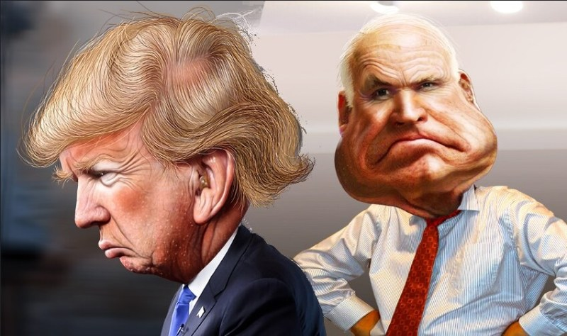 Donald Trump and John McCain caricatures created by DonkeyHotey, assembled, cropped and resized by @JonMarkDraws under the Attribution-ShareAlike 2.0 Generic (CC BY-SA 2.0) license.