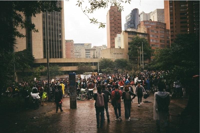 Una de las marchas de estudiantes del Paro Nacional. 21/12/2019. Planetario de Bogotá. Fuente propia.