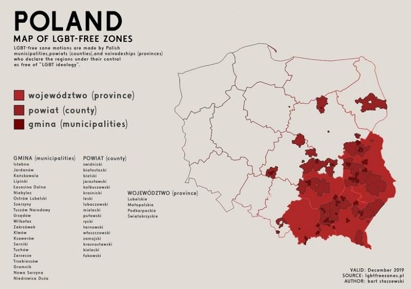 Mapa de las zonas libres LGTB de Polonia