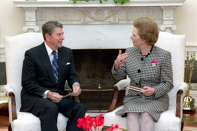 11/16/1988 President Reagan meeting with Prime Minister Margaret Thatcher of the United Kingdom in the oval office