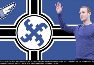Montaje con la bandera de la NSDAP con motivos característicos de Facebook junto a una fotografía de Mark Zuckerberg Fen el 8 2018 Keynote. Autor: Trabajo propio. Autor original: Anthony Quintano, 30/04/2018. Fuente: Wikimedia Commons (CC BY 2.0.)