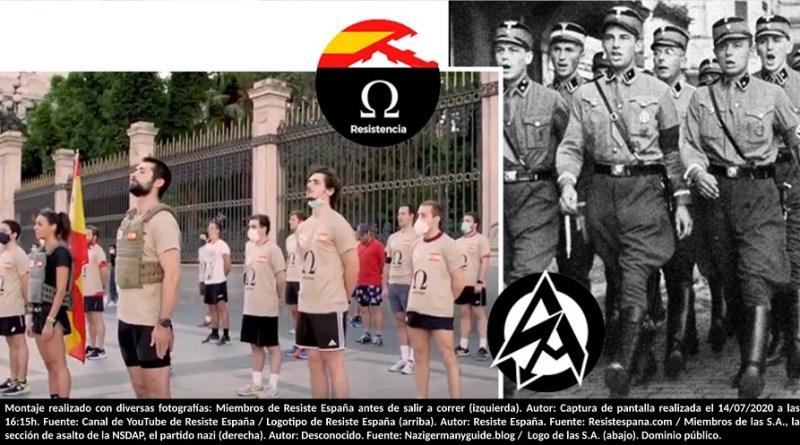 Montaje realizado con diversas fotografías: Miembros de Resiste España antes de salir a correr (izquierda). Autor: Captura de pantalla realizada el 14/07/2020 a las 16:15h. Fuente: Canal de YouTube de Resiste España / Logotipo de Resiste España (arriba). Autor: Resiste España. Fuente: Resistespana.com / Miembros de las S.A., la sección de asalto de la NSDAP, el partido nazi (derecha). Autor: Desconocido. Fuente: Nazigermanyguide.blog / Logo de las S.A. (abajo). Dominio público.