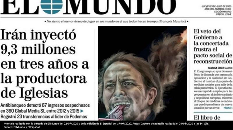 Montaje realizado con la portada de El Mundo del 22/07/2020 y de la edición de El Español del 19/07/2020. Autor: Captura de pantalla realizada el 24/08/2020 a las 14:13h. Fuente: El Mundo y El Español