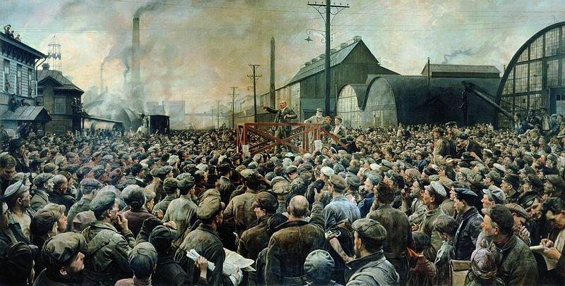 Discurso de V.I. Lenin en una reunión de trabajadores en la planta de Putilov en mayo de 1917. Autor: Isaak Brodksy, 1929. Fuente: exlibris.ng.ru