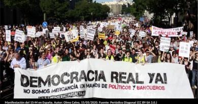 Manifestación del 15-M en España. Autor: Olmo Calvo, 15/05/2020. Fuente: Periódico Diagonal (CC BY-SA 3.0.)