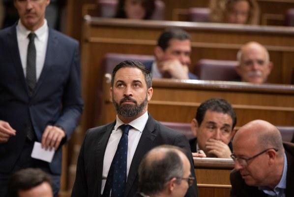 Moción de censura. Santiago Abascal en el Hemiciclo.  Autor: Vox España, 21/05/2019. Fuente: Flickr