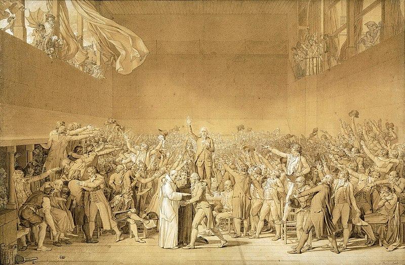 Le Serment du Jeu de paume, cuadro que refleja la constitución de la Asamblea Nacional Constituyente durante la Revolución Francesa. Autor: Jacques-Louis David, 1791. Fuente: Museo Nacional del Palacio de Versalles.