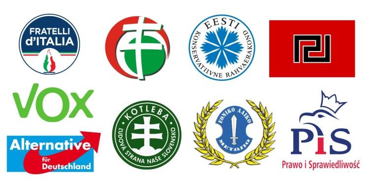 Logotipos de diversos partido político de extrema derecha