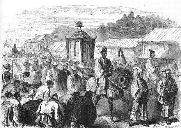 1.MeijiJoukyou/ El emperador Meiji se traslada de Kioto a Tokio. Autor: Le Monde Illustre, 20/02/1869. Fuente: Wikimedia