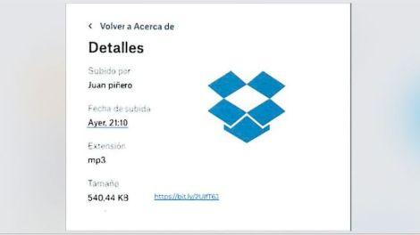 Captura de pantalla que muestra los detalles sobre el archivo de Dropbox con el bulo de la ministra de Exteriores. Autor y fuente: ElDiario.es