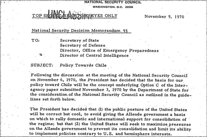 Fracción de los documentos desclasificados por Estados Unidos sobre el golpe a Salvador Allende