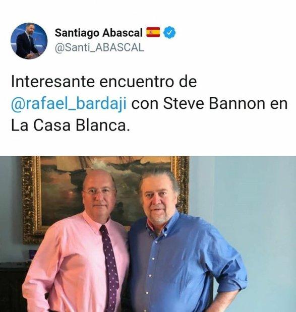 Tweet de Santiago Abascal sobre un encuentro internacional. Autor: captura de pantalla realizada el 05/11/2020 a las 14:16. Fuente: Twitter, cuenta de @Santi_ABASCAL .