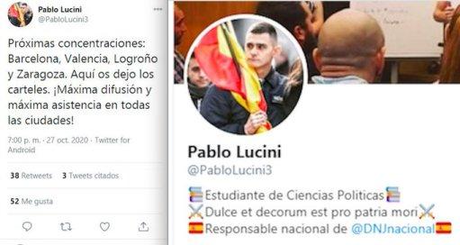 Tweet y Perfil de Pablo Lucini mostrando su implicación con las manifestaciones y su pertenencia a Democracia Nacional. Fuente: Twitter, @PabloLucini3