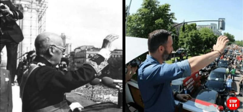 Meme que compara a Franco con Abascal. Autor: STOP VOX. Fuente: Twitter.