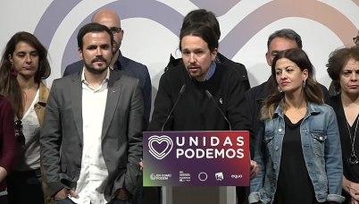 Valoración de los resultados de la jornada electoral por parte de Unidas Podemos. Autor: PODEMOS, 28/04/2019. Fuente: Youtube. (CC BY 3.0)
