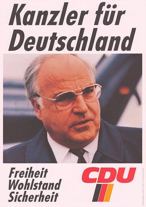 Cartel electoral de Helmut Kohl en 1990 por el partido CDU, principal artífice de la reunificación alemana. Autor: CDU, 1990. Fuente: Archiv für Christlich-Demokratische Politik (ACDP) (CC BY-SA 3.0.)