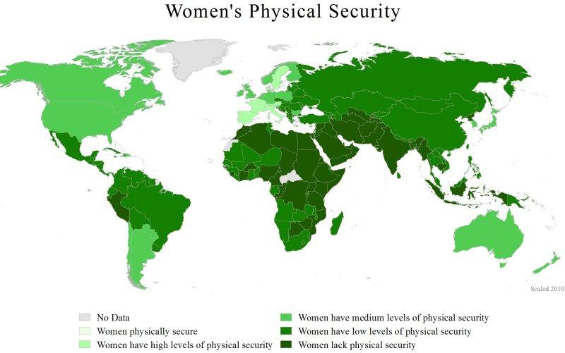 Mapa mundial de riesgo de violencia contra las mujeres (2011). Autor: WomanStats Project, 05/12/2011. Fuente:  womanstats.org
