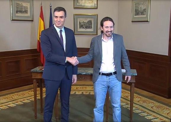 Declaración conjunta de Pablo Iglesias y Pedro Sánchez del pacto de coalición. Autor: Fuente: PODEMOS, 12/11/2019. Fuente: YouTube (CC BY 4.0.)