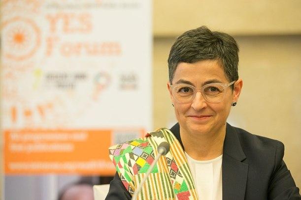 Arancha González Laya, durante la sesión de clausura del WEDF 2019. Autor: International Trade Centre, 28/11/2019. Fuente: Flickr. (CC BY 2.0).
