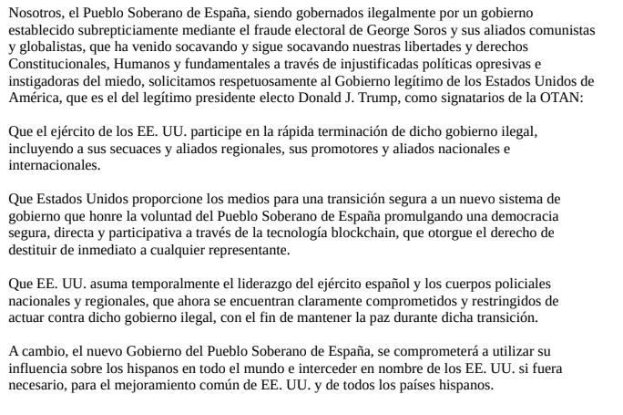 Captura de pantalla de la petición difundida por Vox Humanes de Madrid pidiendo el golpe de estado