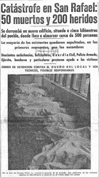 Recorte de periódico sobre la tragedia de San Rafael. Autor: desconocido. Fuente: Historia urbana de Madrid.