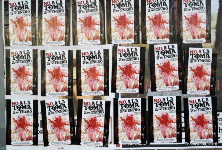 Carteles de protesta contra la Toma de Granada. Autor: Photolanda, 02/01/2016. Fuente: Flickr (CC BY-NC-SA 3.0.)