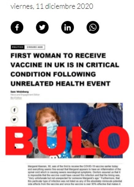 Bulo sobre la primera mujer en recibir la vacuna. Autor: captura de pantalla hecha el 05/01/2021 a las 16:32. Fuente: Maldita.es