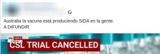 Bulo que acusa a la vacuna de producir SIDA. Autor: captura de pantalla hecha el 05/01/2021 a las 16:36. Fuente: Maldita.es