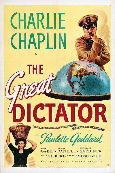 Póster promocional de la película El Gran Dictador (1940) de Charles Chaplin