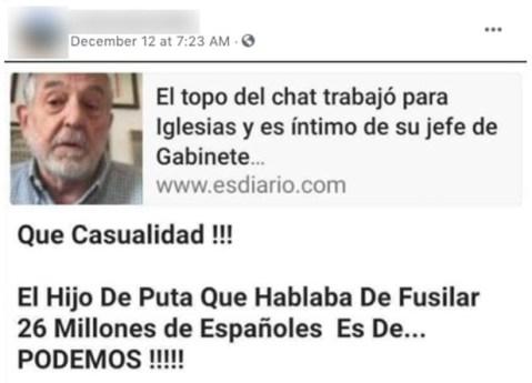 """Bulo donde se acusa al teniente coronel José Ignacio Domínguez de ser el que pronunció la frase de """"los 26 millones de hijosdeputa"""". Autor: captura de pantalla hecha el 05/01/2021 a las 16:25. Fuente: Maldita.es"""