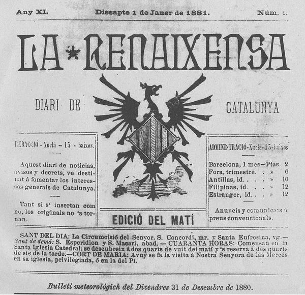 La Renaixença, publicación de finales del siglo XIX cuya simbología es utilizada por la extrema derecha independentista.