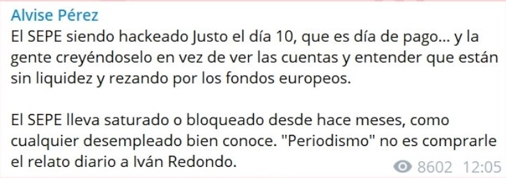 Alvise Pérez dice que fallo del SEPE se debe a la falta de liquidez de fondos. Mensaje recortado de la cabecera de mensajes de la publicación. Autor: Alvise Pérez. Fuente: Maldita.es (CC BY-SA 3.0 ES).