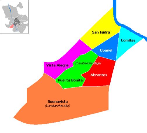 División del distrito madrileño de Carabanchel en barrios (Madrid, España). Autor: Alxesp, 13/11/2008. Fuente: Wikimedia Commons (CC BY-SA 4.0)