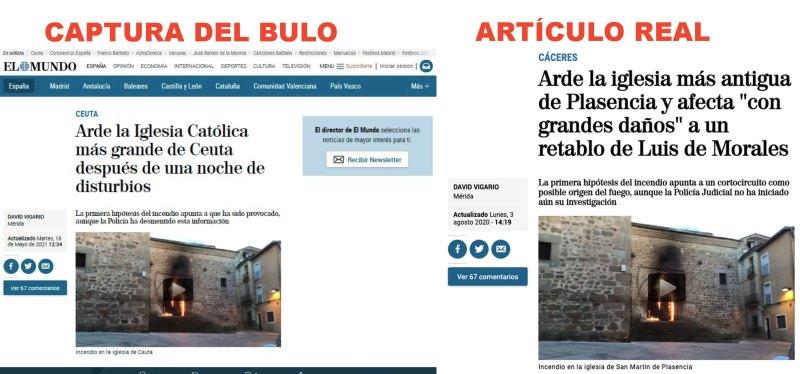 Comparativa entre el artículo falso y el artículo real. Autor: Maldita.es, 17/05/2021. Fuente: Maldita.es (CC BY-SA 3.0 ES).