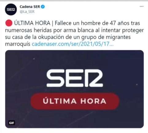 Tuit falsificado haciéndose pasar por la Cadena Ser. Autor: Captura de pantalla realizada el 09/06/2021, a las 18:05h. Fuente: Maldita.es (CC BY-SA 3.0 ES)