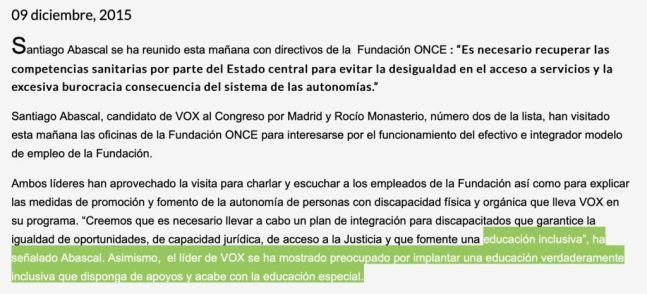 Programa electoral de Vox en 2016. Autor: Captura de pantalla realizada el 29/07/2021 a las 10:15h. Fuente: voxespana.es