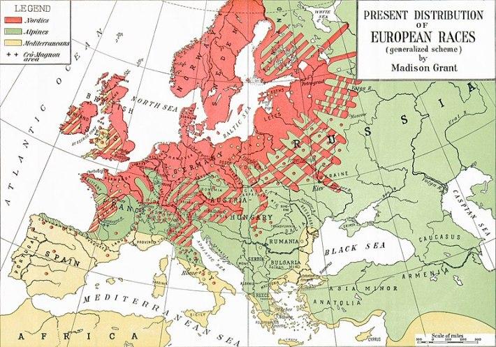 """""""Distribución actual de las razas europeas"""", mapa del libro de 1916 del estadounidense Madison Grant. Fuente: Madison Grant, """"The Passing of the Great Race,"""" Geographical Review, Vol. 2, No. 5. (Nov., 1916), pp. 354-360."""