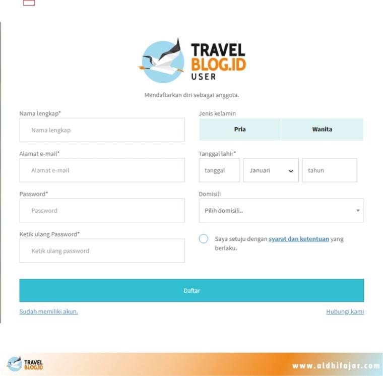 Mengisi form registrasi akun