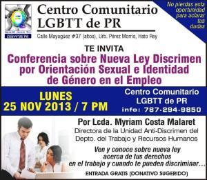 Conferencia sobre la nueva ley anti discrimen en el empleo por orientación sexual e identidad de género