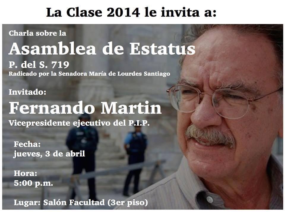 Fernando Martin hablará sobre Asamblea de Estatus en Inter Derecho