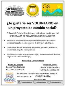 Programa de Alfabetización del Caño Martín Peña busca voluntarios