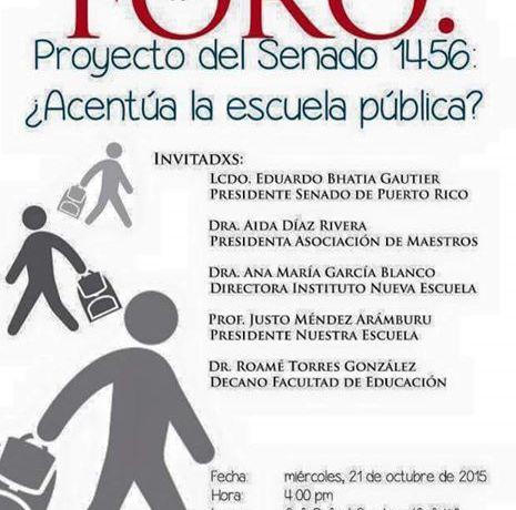 Universidad de Puerto Rico será sede de foro sobre el Proyecto del Senado 1456 que afecta la educación pública